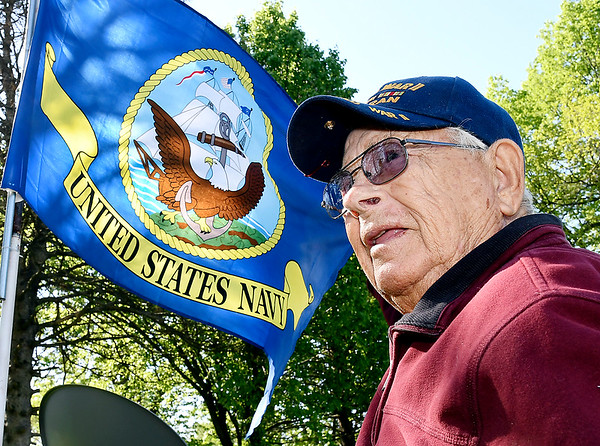 John P. Cleary   The Herald Bulletin <br /> WWII Navy veteran Paul Gladney proudly flies the U.S. Navy flag in the front yard of his Lapel home.