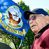 John P. Cleary | The Herald Bulletin <br /> WWII Navy veteran Paul Gladney proudly flies the U.S. Navy flag in the front yard of his Lapel home.