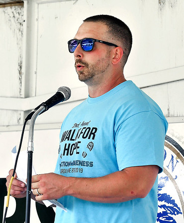 John P. Cleary | The Herald Bulletin<br /> One of the guest speakers at the second annual Walk For Hope event Saturday was Dustin Stout who told his story of becoming an addict and then becoming clean.
