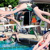 Don Knight | The Herald Bulletin<br /> Alia Walters dives off the blocks at the start of the girls 400 meter freestyle during the Stars & Stripes swim meet at Brown Pool in Pendleton on Friday.