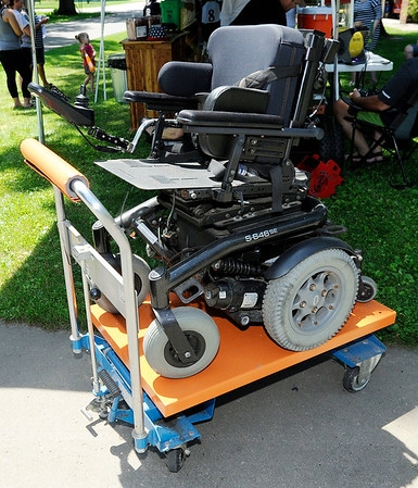 Don Knight   The Herald Bulletin<br /> Garrett Imel's family held a lemonade stand fundraiser so they can refurbish a second hand wheel chair for him.