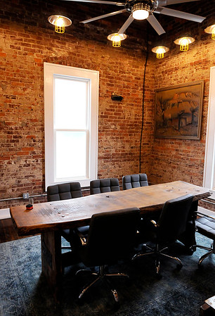 Don Knight | The Herald Bulletin<br /> Upstairs conference room in the former fire station on third street that is being renovated into a business office for Picket Fence Property Company.