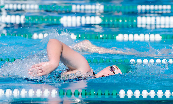 Don Knight | The Herald Bulletin<br /> Allison Gentry competes in the girls 400 meter freestyle during the <br /> Stars & Stripes swim meet at Brown Pool in Pendleton on Friday. The meet continues Saturday.
