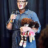 John P. Cleary | The Herald Bulletin <br /> Denise Sawyer Chamberlain, with vitiligo dolls, tells her story at the Anderson Chapter Indiana Black Expo 2019 Corporate Luncheon last month when she was presented with a Fighter Award for transforming adversity into advocacy.