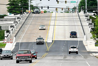 John P. Cleary | The Herald Bulletin The Eisenhower Bridge over White River in Anderson is now open to traffic in both directions for East Eight Street. The new span was opened late Tuesday after more then a year and a half of construction and traffic detours for the $16 million project.