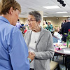 John P. Cleary | The Herald Bulletin<br /> St. Vincent Anderson's 125th anniversary celebration open house. Sister Michaeleen Frieders, retired now, greets old friends during the open house Monday afternoon. Sister Michaeleen served as hospital CEO from 1978 to 1986.