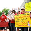 Don Knight | The Herald Bulletin<br /> Teachers, parents, students and administrators joined in Anderson's Red for Ed march from the library to the city building on Friday.