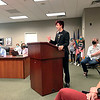 Pendleton Heights senior Bryce Axel-Adams addresses the South Madison Community Schools' Board of Trustees Thursday about a variety of issues regarding the district's LGBTQ+ student population.