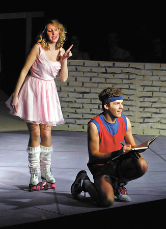Kayla Shoemaker playing muse Kira and Daniel Wolhlberg playing Sonny are the romantic leads in the Mainstage production of XANADU.