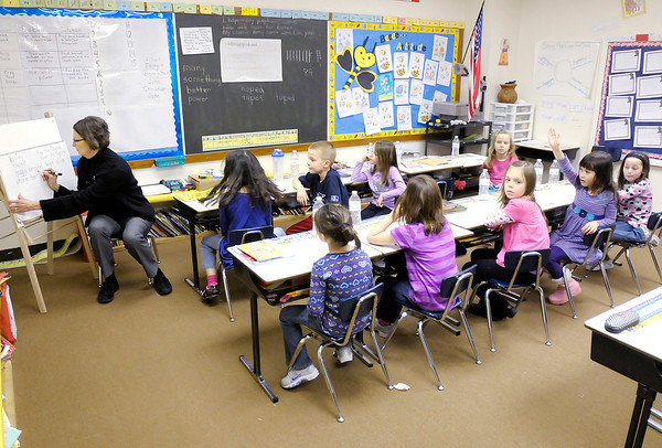 Cindy Soden teaches first grade at Anderson Christian School on Wednesday. The Indiana Supreme Court unanimously upheld the state's voucher law.