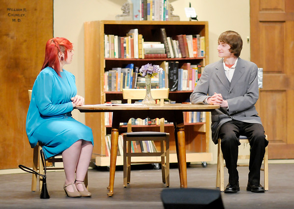"""Emily Paul portrays Mrs. Chumley and Alex Webster portrays Elwood P. Dowd in Anderson High School production of """"Harvey."""""""