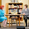 "Emily Paul portrays Mrs. Chumley and Alex Webster portrays Elwood P. Dowd in Anderson High School production of ""Harvey."""