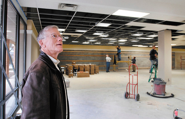 Charles Shumate looks over the progress being done on the interior of the old  Family Christian Store in the 2000 block of University Blvd. Monday.  Shumate, and a partner, are making the space into a new Sears Hometown Store.  Shumate says their target for opening the new facility is April 23rd.