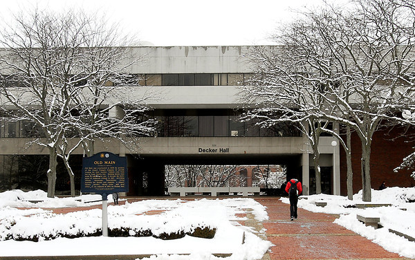 The entrance to Decker Hall on the Anderson University campus was still framed with snow laden branches Thursday morning after Tuesdays' night snowfall.