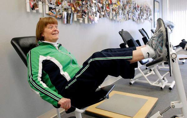 Janet Hayes works out at Shapes Fitness to help her Multiple Sclerosis.