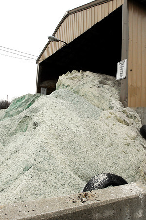 The city salt barn is full of salt as they prepare for incoming snow and ice.
