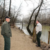 Mounds State Park property manager Ted Tapp and assistant manager Dustin Clark walk along a section of the parks trail 5 that would possibly be affected by the proposed Mounds Lake Reservoir.
