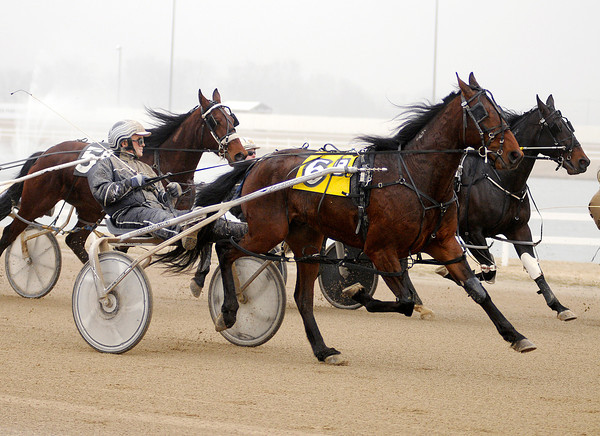 Don Eash drives Practical Pete during a qualifying race at Hoosier Park on Saturday. Live racing starts on April 2nd.
