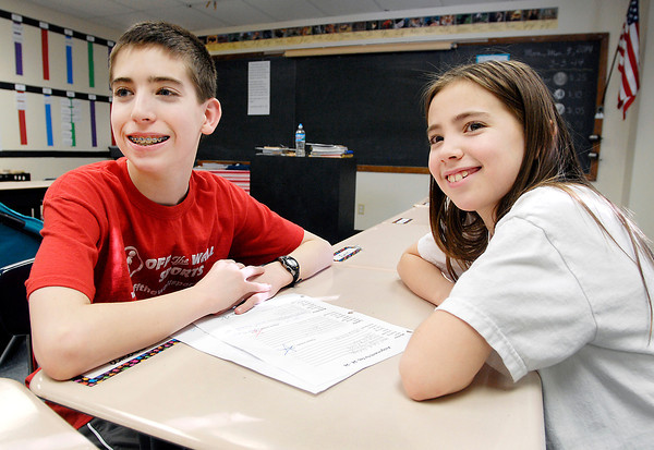 THB photo/John P. Cleary<br /> Siblings Joshua and  Rachel Soden will be competing against each other in The Herald Bulletin's 2014 Spelling Bee. Joshua, a 6th grader at Anderson Christian Middle School, and Rachel, 5th grader at Anderson Christian Elementary School, each won their respective grade and school bees to qualify.