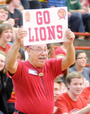 Don Knight / The Herald Bulletin<br /> Facundo Cortez was one of two staff members recognized as having the most school spirit during a pep rally on Friday.