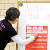 Don Knight / The Herald Bulletin<br /> Title 1 teacher Nancy Steele places sight words on a board as she calls them out during Book Bingo at Alexandria-Monroe Elementary School on Thursday. The school tries to have events monthly for children in the Title 1 program.