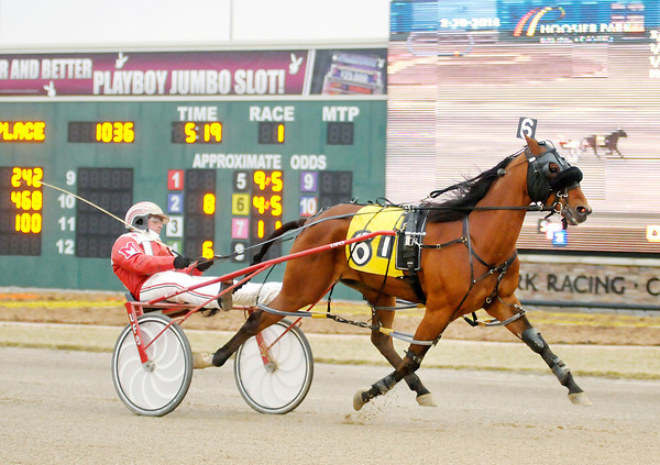 Don Knight | The Herald Bulletin<br /> Mike Micallef drives No Habla for the win in the first race on the card at Hoosier Park on Saturday.