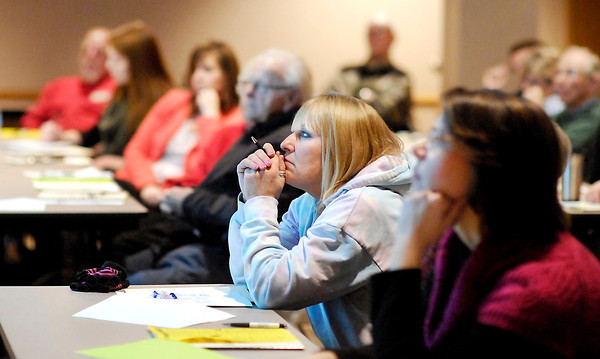 """John P. Cleary   The Herald Bulletin<br /> About 40  people attended a educational session """"Meth in Indiana: Learn how meth impacts families in your community"""" held at the Anderson Public Library Tuesday afternoon."""