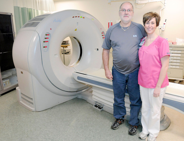 Don Knight / The Herald Bulletin<br /> At the prompting of his daughter Dawn Cline David LaShure had a CT scan of his heart, the scan discovered a life threatening blockage.