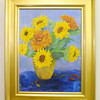Don Knight / The Herald Bulletin<br /> A painting of sunflowers by Leanor Papai is part of the current display at the Visitors Bureau.