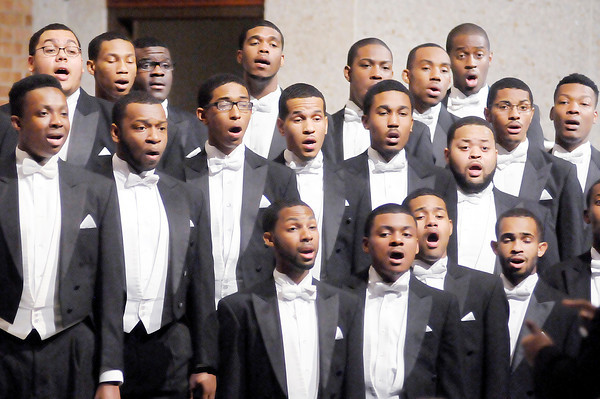 Don Knight / The Herald Bulletin<br /> The Morehouse College Glee Club performs at First United Methodist Church on Wednesday. The concert was brought to Anderson by New Hope United Methodist Church and Pastor Sharon White. The club from Atlanta was formed in 1911 at what was then called the Atlanta Baptist College.