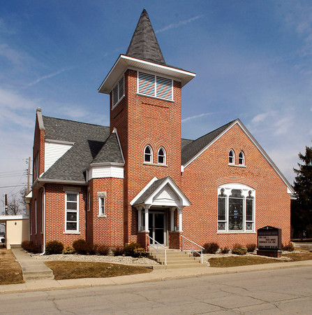 John P. Cleary / The Herald Bulletin<br /> Volunteers are restoring the Summitville United Methodist Church's sanctuary located at 600 E. Walnut Street in Summitville.