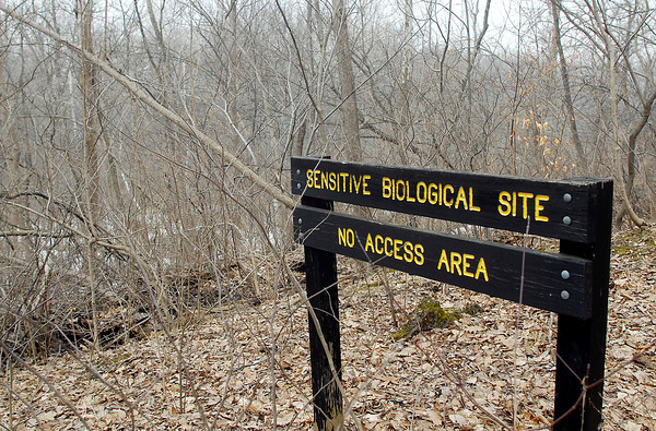 John P. Cleary / The Herald Bulletin<br /> A sign along trail 2 in Mounds State Park signals the start of the Mounds Fen State Nature Preserve which the Robert Cooper Audubon society says would be completely destroyed by the construction of the proposed Mounds Lake reservoir.