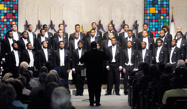 Don Knight / The Herald Bulletin<br /> The Morehouse College Glee Club performs at First United Methodist Church on Wednesday. The concert was brought to Anderson by New Hope United Methodist Church and Pastor Sharon White.