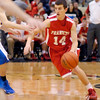 John P. Cleary/THB<br /> Frankton junior guard Conner Bates heads toward the basket during Tuesday's sectional victory over Muncie Burris.