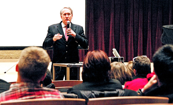 Mark Roesler, CEO of CMG, talks with music business students at Anderson University during a Q&A on March 25, 2014.  An attorney and agent for dead celebrities, Roesler drafted the Indiana law which protects their publicity rights for one hundred years after death.