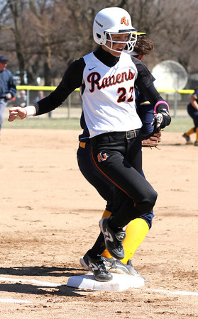 Photo by Chris Martin<br /> Ravens Short Stop Nichole Frazier runs out the throw Saturday in a win against Franklin
