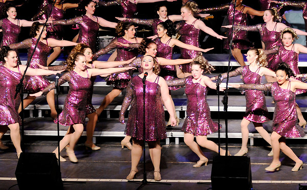 Don Knight | The Herald Bulletin<br /> Anderson High School's Vocal Excellence show choir performs as the school hosted 19 show choirs from Indiana and Ohio during their Singsational competition on Saturday.