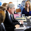 Don Knight | The Herald Bulletin<br /> Former director of the FBI Robert Mueller talks to students in the security studies and political science program at Anderson University on Wednesday. Mueller lead the FBI from September 2001 to September 2013.
