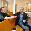 John P. Cleary |  The Herald Bulletin<br /> Christian Center director Rob Spaulding talks with pastor Jay Harvey in the center's chapel. Harvey is starting a new church with the Christian Center.