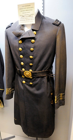 "Don Knight | The Herald Bulletin<br /> An 1864 Pattern Union Navy Officers uniform is part of the Madison County Historical Society's new exhibit ""The Civil War:  Soldiers and Stories of Madison County."""