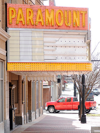 Don Knight | The Herald Bulletin<br /> The Paramount Theatre's lower marquee was damaged by high winds in February and the theatre has started a gofundme.com page to raise $50,000 to replace it. The current marquee was built over the original wooden one that dates to 1929. In the nearly 90 years since, the wooden structure has decayed to the point were it needs to be replaced instead of repaired according to the gofundme page.