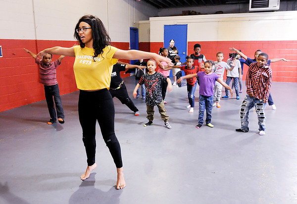Don Knight | The Herald Bulletin<br /> Kalahni Merritt teaches a dance class during Spring Break Camp at the Boys and Girls Club on Tuesdsay.