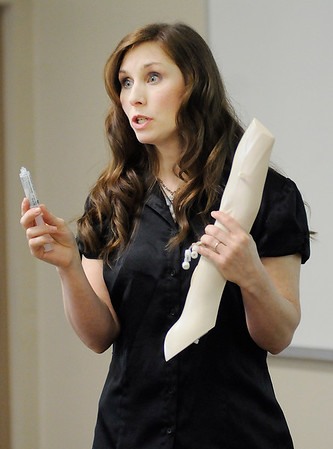 Don Knight | The Herald Bulletin<br /> Naomi Jones teaches her students about electrolytes at Ivy Tech on Tuesday. Jones received the ATI Nursing Education's Nurse's Touch Award.