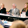 John P. Cleary |  The Herald Bulletin<br /> Local legislators Rep. Terri Austin, Dist. 36, Sen. Tim Lanane, Dist. 25, and Rep. Melanie Wright, Dist. 35, take part in the Third House legislative session at Anderson Public Library Monday evening.