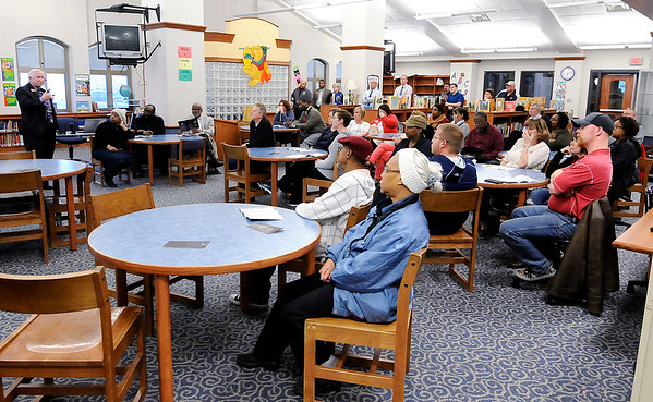 Don Knight | The Herald Bulletin<br /> About 40 people listen to ACS Superintendent Terry Thompson explain the FIRST program at Anderson Elementary School on Wednesday. The next meeting will take place April 12 at 6 p.m. at D26 Career Center.