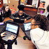 John P. Cleary |  The Herald Bulletin<br /> Highland Middle School sixth-graders in Beth Bates and Joanne Barizendine's class use their Chromebooks to access the Anderson Public Library's resources through a partnership program with the library.