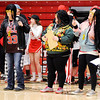 Don Knight | The Herald Bulletin<br /> Staff perform a parody rap for the Frankton Eagles basketball team during a pep rally at the end of the school day on Friday ahead of their semi-state showdown Saturday against Marquette Catholic.