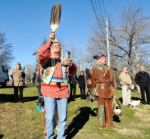 John P. Cleary |  The Herald Bulletin<br /> These American Indians conducted a ground-blessing ceremony during the dedication of the Indiana state historical marker examining the 1824 murders of nine American Indians in Madison County Wednesday in Pendleton.