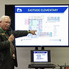 Mark Maynard | for The Herald Bulletin<br /> Anderson Community Schools Superintendent Terry Thompson explains some of the changes planned for the Eastside Elementary School building under the FIRST plan during a discussion forum held at East Side Church of God on Tuesday evening.