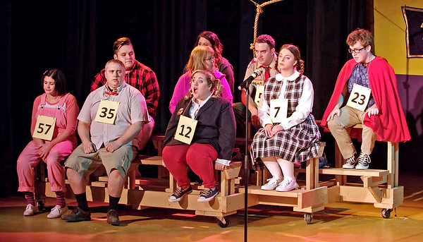 "Mark Maynard | For The Herald Bulletin<br /> ""The  25th Annual Putnam County Spelling Bee"" Spellers include: [first row] Olive Ostrovsky (Mindy Morton), William Morris Barfee (Eddie Franklin), Logainne Swartzand Grubenniere (Kirby Gilliam),  [second row] Audience Speller Jesus Llamas, Audience Speller Connie Pruett, Marcy Park (Erynn Hensley), [third row] Audience Speller Cailyn Vernetti, Chip Tolentino (Daniel Irwin) and Leaf Coneybear Zach Pruett)."